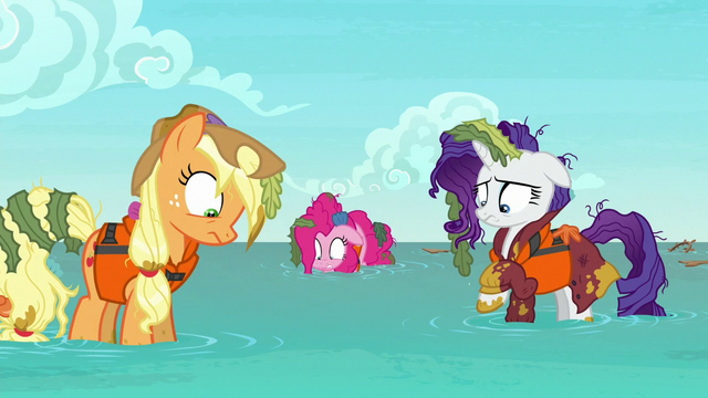 File:AJ, Pinkie, and Rarity in knee-high water S6E22.png