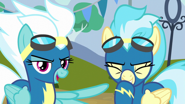 """File:Fleetfoot """"came down right on Spitfire's hoof"""" S6E7.png"""
