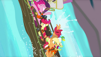 Pinkie Pie and Apples going down waterfall S4E09