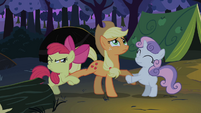 Apple Bloom Sweetie Belle fighting over Applejack S2E05