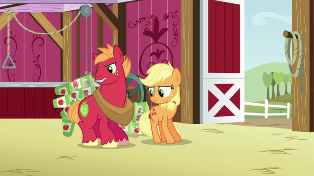 File:Applejack and Big Mac drop cans on the barn floor S6E23.png