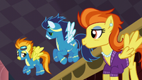 Soarin and Stormy Flare looking at Spitfire S5E15