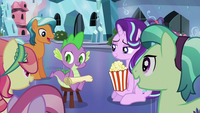 File:Spike and his Crystal Pony fans S6E1.png