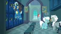 The Wonderbolts in the academy locker room S7E7
