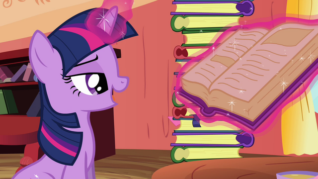 File:Twilight levitating the book to her view S3E09.png