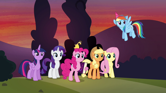 File:Mane 6 watching Cheese leave S4E12.png