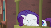 Rarity buries her face in her hooves S5E16