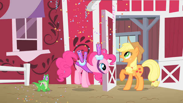 File:Pinkie Pie inviting Applejack to Gummy's party S1E25.png