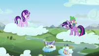 Starlight looks at Twilight on a cloud with Spike S5E26