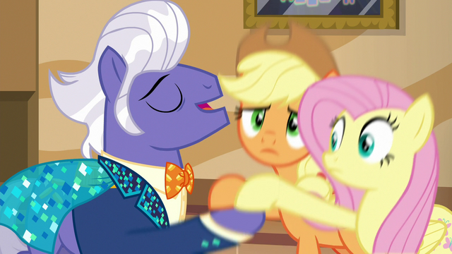 File:Gladmane vigorously shakes AJ and Fluttershy's hooves S6E20.png