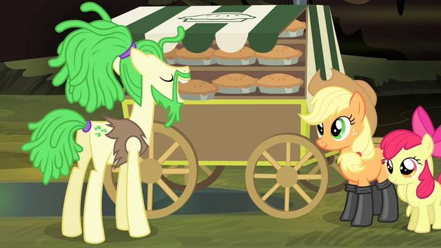 File:Pony in dreadlocks taking a pie S4E17.png
