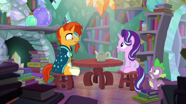 """File:Sunburst """"Did you really travel through time?"""" S6E2.png"""