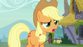 Applejack asks Strawberry why she doesn't like apples S7E9.png
