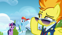 Spitfire lowering her sunglasses S6E24