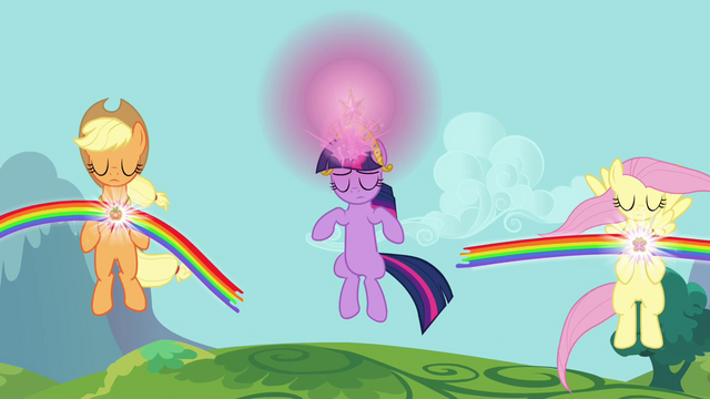 File:Applejack, Fluttershy, and Twilight using Elements S03E10.png