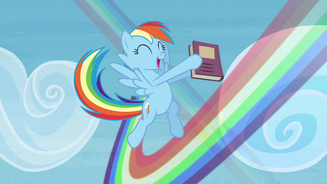 File:Rainbow Dash flying around with her book S4E22.png