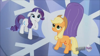 Rarity and Applejack looking up S3E2