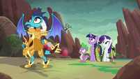 Ember, Spike, Twilight, and Rarity hear dragon's grunt S6E5