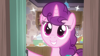 Sugar Belle smiling happily at Big McIntosh S7E8