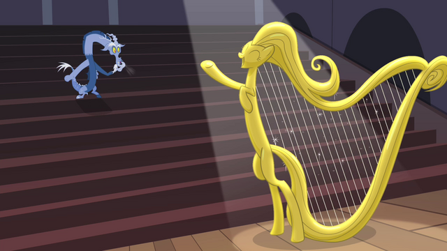 File:Discord whistling while a harp is playing S4E11.png
