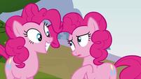 Pinkie Pie's duplicate trying to talk to Pinkie Pie S3E03