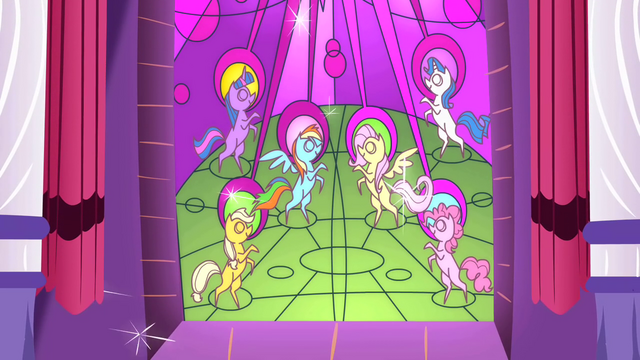 File:Main ponies in the stained glass as heroes S2E2.png