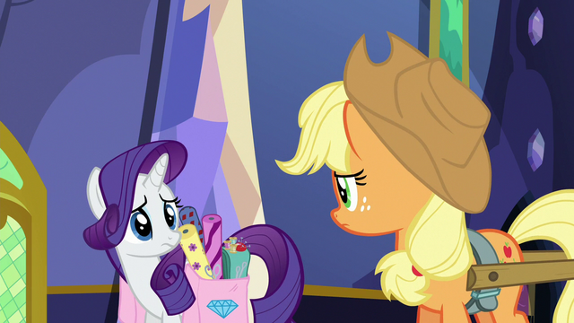 File:Rarity and Applejack look at each other S6E21.png