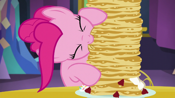 Pinkie eats a tall stack of pancakes S5E03