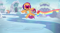 Scootaloo squeals even higher and louder S7E7