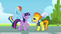 Spitfire blows her whistle in Twilight and Rainbow's faces S6E24
