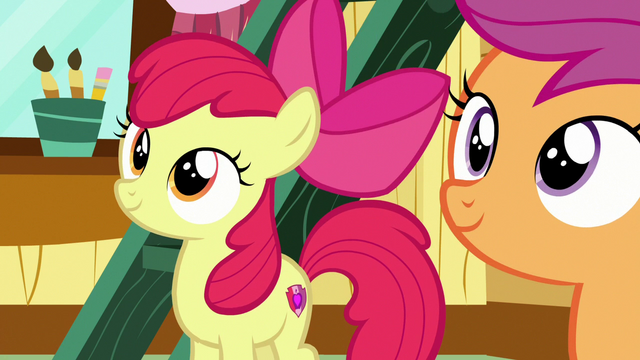 File:Apple Bloom and Scootaloo look at wall of helped ponies S7E6.png