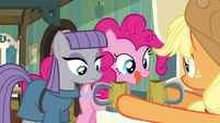AJ giving Maud and Pinkie each a cup of cider S4E18