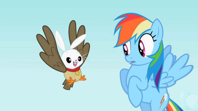 File:Rainbow Dash sees the owl and bunny hybrid S2E07.png
