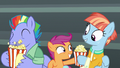 Scootaloo gives popcorn to Windy Whistles S7E7.png