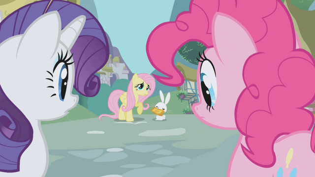 File:Fluttershy looks at Rarity and Pinkie Pie S1E03.png