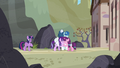 Starlight and the Our Town ponies hugging S5E26.png