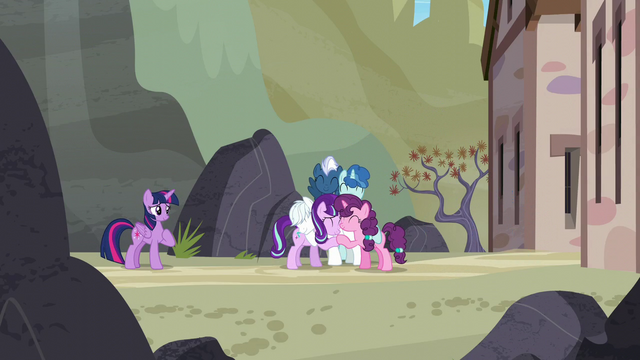 File:Starlight and the Our Town ponies hugging S5E26.png