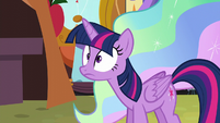Twilight realizes Celestia is present behind her S5E11