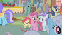 Apple Bloom hiding behind Ruby Pinch S1E12