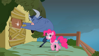 Iron Will attempts to break into Fluttershy' home S2E19