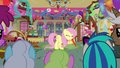 Fluttershy blowing up a balloon S3E13.png