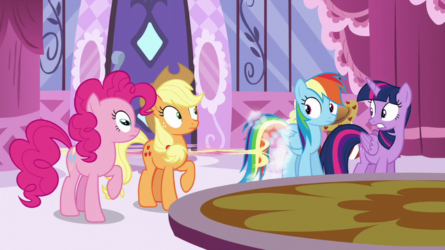 File:Pinkie, AJ, Rainbow, and Twilight see Fluttershy runs off S6E9.png