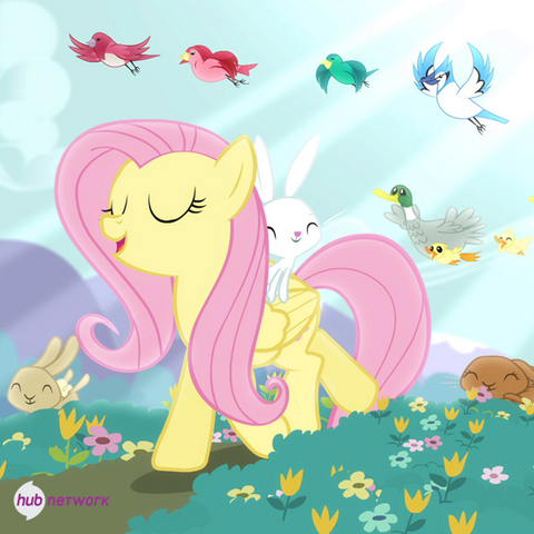 File:Fluttershy walking with animals promotional S4E14.png