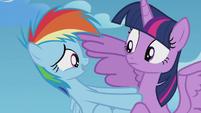 Rainbow Dash pushing away from Twilight S5E25