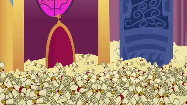 File:Sea of scrolls in Princess Celestia's throne room S6E15.png