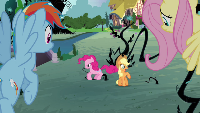 File:Pinkie Pie stomping on vines S4E01.png