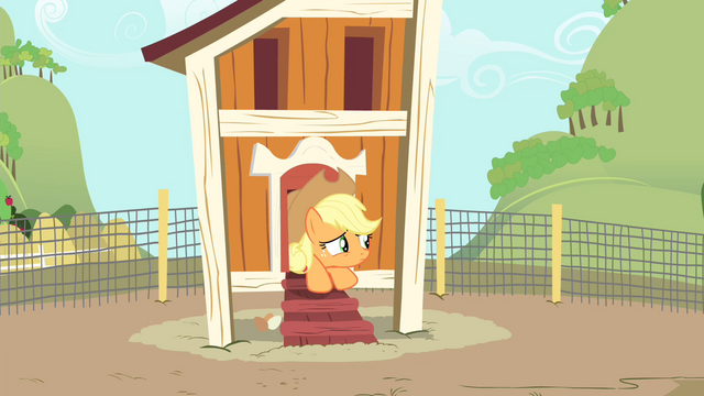 File:Applejack in chicken coop looking out S4E13.png