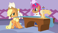 Applejack pulling on Starstreak's sewing fabric S7E9.png