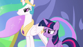 Celestia and Twilight proud of the heroes S7E1.png