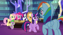 Rainbow Dash blocks Twilight off EG2